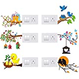 GLOBAL GRAPHICS Switch Penal Sticker of Birds, Birds House Next and Love Birds for decoretive Your home's Switch Board(PVC Vinyl Sticker, Multicolor)