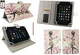 Emartbuy® AlpenTab 7 Zoll Tablet PC Universalbereich Blumenmädchen Multi Winkel Folio Executive Case Cover Wallet Hülle Schutzhülle mit Kartensteckplätze + Baby Rosa 2 in 1 Eingabestift