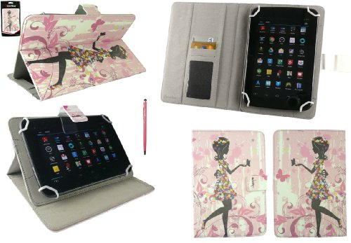 2-in-1 Nextbook (Emartbuy Nextbook Flexx 8 Windows Tablet 8 Zoll Universalbereich Blumenmädchen Multi Angle Exekutiv Folio Mappen Kasten Abdeckung mit Kartensteckplätze + Baby Rosa 2 in 1 Eingabestift)