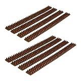 Relaxdays 8X Vogelabwehr, je 49 cm, mit Spikes, Gesamtlänge 4 m, witterungsresistent, Tierabwehr für Zäune und Mauern, Dunkelbraun