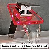 LED Waschtischarmatur RGB Glas Wasserfall Wasserhahn Chrom Bad Waschbeckenarmatur Waschtischarmatur Einhebelmischer 3 Farbewechsel NVT103