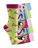 by Laake Kinder Socken handgekettelt Spitze ohne Naht 6 Paar aus besonders weicher Baumwolle Flamingos, Mehrfarbig, 27-30