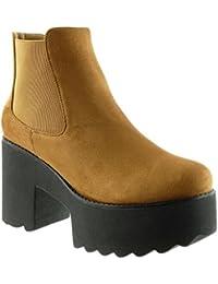 15b0be0e3e4 Angkorly - Zapatillas de Moda Botines Chelsea Boots Zapatillas de  Plataforma Biker - Motociclistas Mujer Talón
