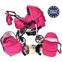Baby Sportive - Sistema da viaggio 3 in 1 (carrozzina con ruote girevoli, seggiolino auto e passeggino), con accessori, colore: Rosa a pois