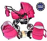 Sportive X2 - Sistema de viaje 3 en 1, silla de paseo, carrito con capazo y silla de coche, RUEDAS GIRATORIAS y accesorios (Sistema de viaje 3 en 1, rosado, lunares)
