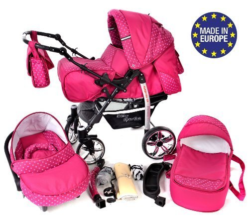 3-in-1 Travel System incl. Baby Pram with Swivel Wheels, Car Seat, Pushchair & Accessories, Pink & Polka Dots 51TxKjWET0L