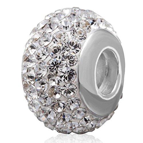 Soulbead Charm gennaio-dicembre pietra scintillante cristallo austriaco elementi in argento Sterling 925filettato Core perline per Bracciale europea Donna April Birthstone Clear Crystal - Cristallo Gennaio Charm