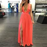 JaneDream Perfect Split Backless Deep V Sleeveless Dresses Party Beach Formal Bridesmaid Prom Gown Dress Sundress M