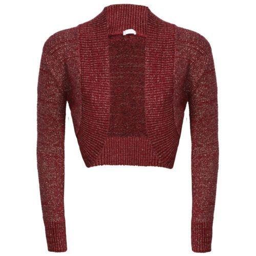 NEW Mesdames manches longues uni Lurex Boléro en tricot pour Cardigan en jersey pour homme Bordeaux