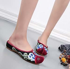 DESY Gestickte Schuhe, Sehnensohle, ethnischer Stil, weiblicher Flip Flop, Mode, bequeme, lässige Sandalen , red , 41