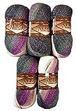 Alize, 5gomitoli da 100g di filato Glitter 1986 per lavoria maglia e all'uncinetto, in gradiente di viola, lavanda, grigio, bianco, totale 500g, con lana di mohair e filo metallico
