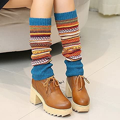 Stylish spandex leg warmer socks long thick soft winter boots,Light blue stripes