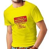 Männer T-Shirt Ich Habe Eine Tochter - Vatertag, Weihnachten, Geburtstag, Jubiläumsgeschenk für Vater (XX-Large Gelb Rote)
