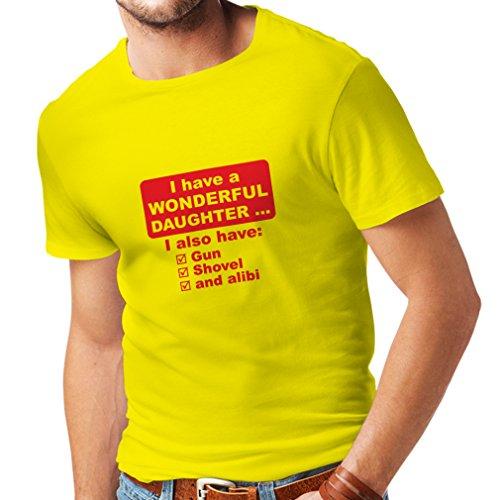 lepni.me Männer T-Shirt Ich habe eine Tochter - Vatertag, Weihnachten, Geburtstag, Jubiläumsgeschenk für Vater (Large Gelb Rote)