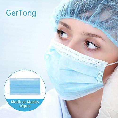 GerTong 10 Stück Einweg OP-Maske Gesichtsmaske 3-lagig Mundschutz Staubschutz Infektionsschutz Schutzmaske Atemschutzmaske mit Ohrschlaufen schützt vor Verschmutzungen (Blau)