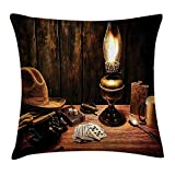 Pads bag Western Decor Throw Pillow Cushion Cover by, Mystic Night in Hotel Room Dallas with Lantern Nightstand Table and Poker Card, Decorative Square Accent Pillow Case, 18 X 18 Inches, Brown 45cm