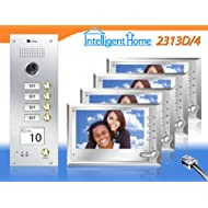 """4-Apartments Video Door Entry System CYGNI 7"""" Monitors CAT5 series"""