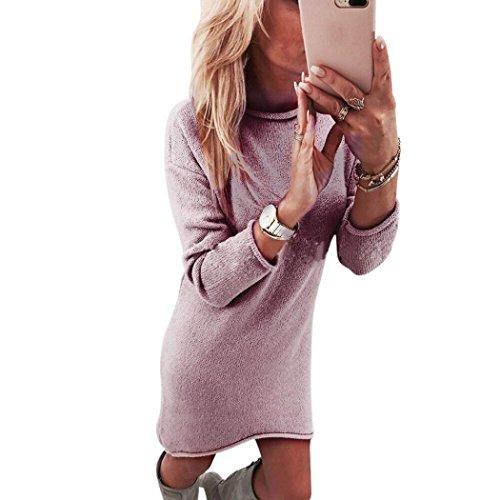 LHWY Kleider Damen Elegant, Frauen Pullover Fester Rundhalsausschnitt Pullover Mini beiläufiges Langes Hülsen Sweatshirt Kleid Lösen Bluse Tops PartyKleid Mode (L, Rosa) (Coast T-shirt Jersey)