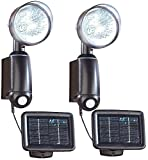 Lunartec Solar-Wand-Außenleuchten: Solarstrahler mit ultraheller 1-Watt-LED und Bewegungssensor, 2er-Set (Außenleuchten mit Solarpanels)
