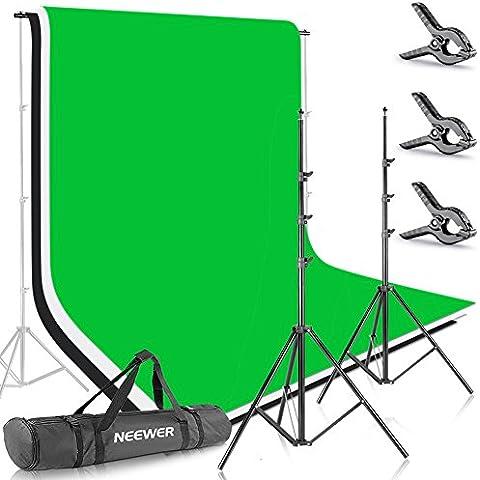 Neewer® 8.5Ft * 10ft/2.6m * 3m Antecedentes Soporte Soporte Sistema con 6ft * 9ft/1,8m * 2,8M telón de fondo (blanco, negro, verde) para retrato, fotografía de producto y grabación de