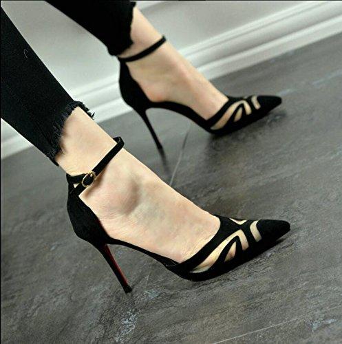 HGTYU-Il tacco alto Scarpe Donna con piccolo tirante asolato Net cucitura a filato Sexy discoteche scarpe singolo lato vuoto 38 35