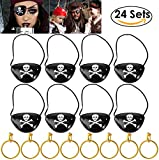 UNOMOR Pirate Eye Patches with Earring for Party and Costume, 24 Sets in one
