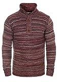 !Solid Madden Herren Strickpullover Troyer Feinstrick Pullover Mit Stehkragen und Knopfleiste Aus 100% Baumwolle, Größe:XL, Farbe:Bordeaux (0905)