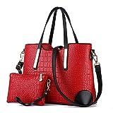EssVita Women Shoulder Bags 2 Pieces Tote Bag Pu Leather Handbags Purse Bags Set for Women (Wine Red+Black)