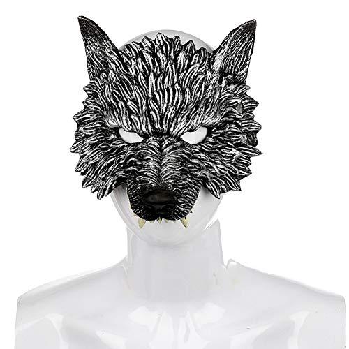 Schreckliche Kostüm Kinder - Yalatan Creepy Wild Wolf, Halloween Neuheit Wolf Maske, Realistische Wolf Cosplay Kostüm Karneval Zubehör 3D Tier Schreckliche Maske Für Frauen Männer Kinder