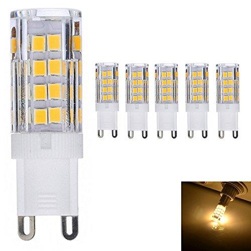 5X 5 Watt G9 LED Bombilla Lámpara 51 SMD 2835 Iluminación LED 400LM Spot luz Blanco Cálido 3000K Lámparas Halógenas Equivalentes a 50W AC 220V