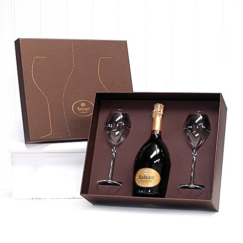 Ruinart Brut Champagne and 2 Glass Champagne Flutes in Gift Box NV 75 cl