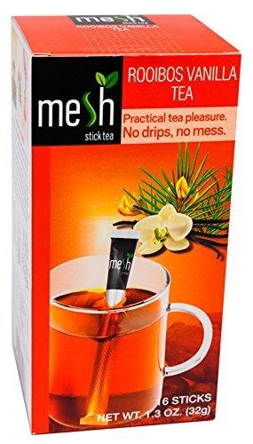 Mesh Rooibos Vanille Tee 16 Sticks - Tee genießen leicht gemacht - Kein Beutel, Kein Tropfen, Kein Löffel - Einfach in der Handhabung, natürlich im Geschmack!