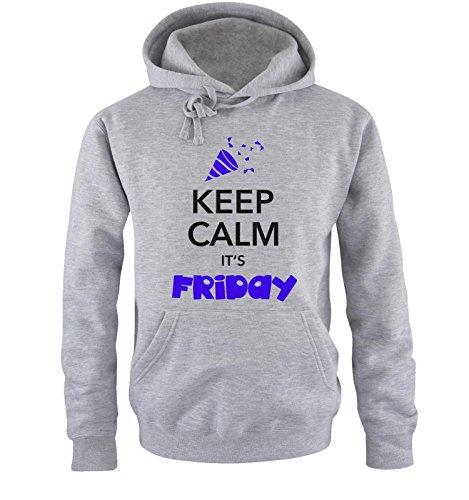 Comedy Shirts - KEEP CALM IT'S FRIDAY - Uomo Hoodie cappuccio sweater - taglia S-XXL different colors grigio / nero-azzurro