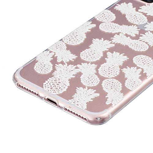 SainCat Coque Housse pour Apple iPhone 7 Plus,Transparent Coque Silicone Etui Housse,iPhone 7 Plus Silicone Case Soft Gel Cover Anti-Scratch Transparent Case TPU Cover,Fonction Support Protection Comp Blanc-ananas