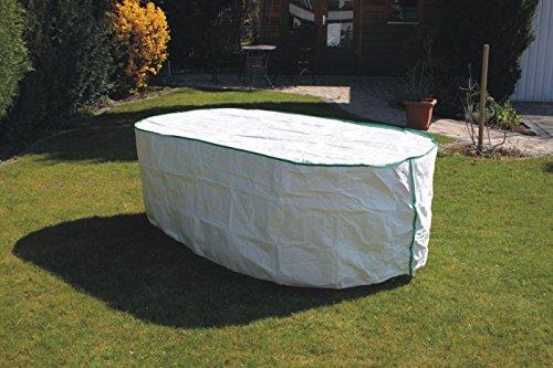 Housse table de jardin ovale Exclusive en Tyvek blanc avec roulement Sacs pour table cloche Bâche 200 x 110 x 75