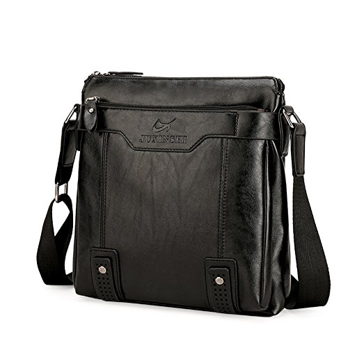 FULIER Männer Leder Rucksack Lässig College Bookbag Mode Laptop Daypack Wandern Tasche multifunktions Taschen Schwarz