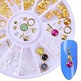 NICOLE DIARY 1 Caja Oro Remache Triángulo Corazón Clavos de clavo Patrones Mixtos Marco Círculo Blanco Perla Perla DIY 3D Decoración de Uñas