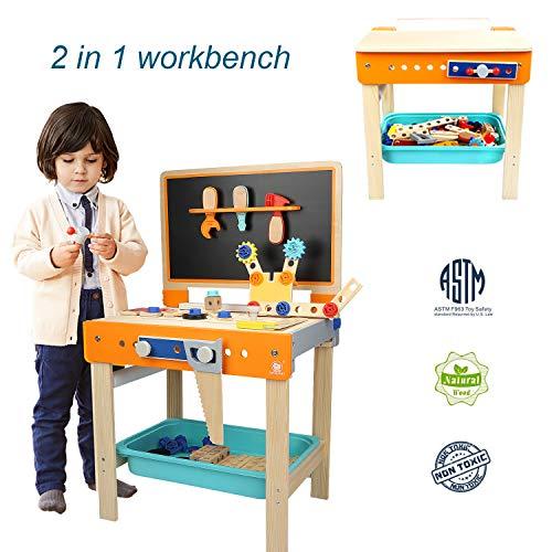 TOP BRIGHT Kinder Werkbank mit Werkzeug Holz,Werkzeug Spielzeug Set ab 2 3 Jahre Junge Geschenk
