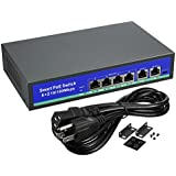 uxcell 6 Port Smart 10/100Mbps PoE Switch (4 PoE Ports | 2 Uplink Port) 78W IEEE 802.3af/802.3at with 250 meters
