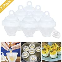 Egg Cooker Hard & Soft Maker, 7 PCS Egg Cookers No Shell, Non Stick Silicone, Poacher, Boiled, Steamer, AS SEEN ON TV