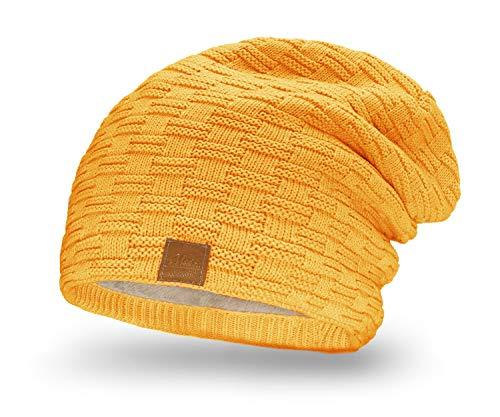 Mikos * Damen Frauen Herren Mütze Winter Strickmütze Wintermütze Gefütterte Beanie Unisex (654) (-Curry)