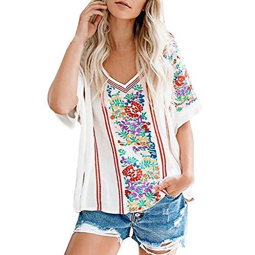KonJin Damen Tops Frauen Lose Beiläufige Blumendruck Boho Short Sleeve mit V-Ausschnitt T-Shirt Blusen