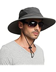 EINSKEY Wide Brim Sun Hat Summer UV Protection Beach Hat Showerproof Safari Boonie Hat Foldable Fishing Hat with Adjustable Chin Strap and Breathable Mesh Crown