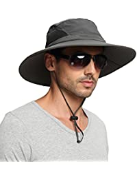 EINSKEY Wide Brim Sun Hat Summer UV Protection Beach Hat Showerproof Safari  Boonie Hat Foldable Fishing 942b77ce3