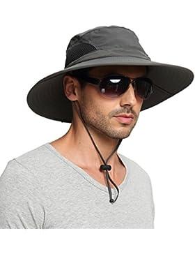 EINSKEY Sombrero Hombre Verano Sombrero Pescador de ala Ancha Plegable y  Impermeable para Safari 162f77434091