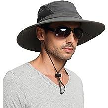 EINSKEY Sombrero Hombre Verano Sombrero Pescador de Ala Ancha Plegable y Impermeable para Safari, Playa, Exteriores (Unisex, 3 Colores)