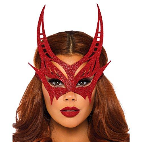 Halbmaske Teufel Damen Augenmaske Glitter Fasching Venezianische Maske rot ()