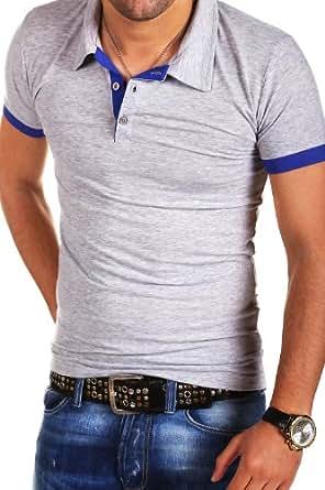 MT Styles Poloshirt Kontrast Slim Fit T-Shirt P-07 [Grau, XXL]