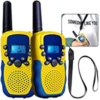 GEEDIAR Walkie Talkie niños, T-388ricetrasmittenti 8canales Walkie Talkies 2Way Radio, Gamma 3Miglia, ricetrasmettitore LCD-Display (giall/Azul 1par)