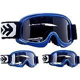 ARROW AG-49 Blue MX Moto Cross Enfant Lunettes de Protection Masques de Moto Ski Windproof Enduro Junior Cross Moto Sport Pocket-Bike, Bleu/Argent, Taille Unique